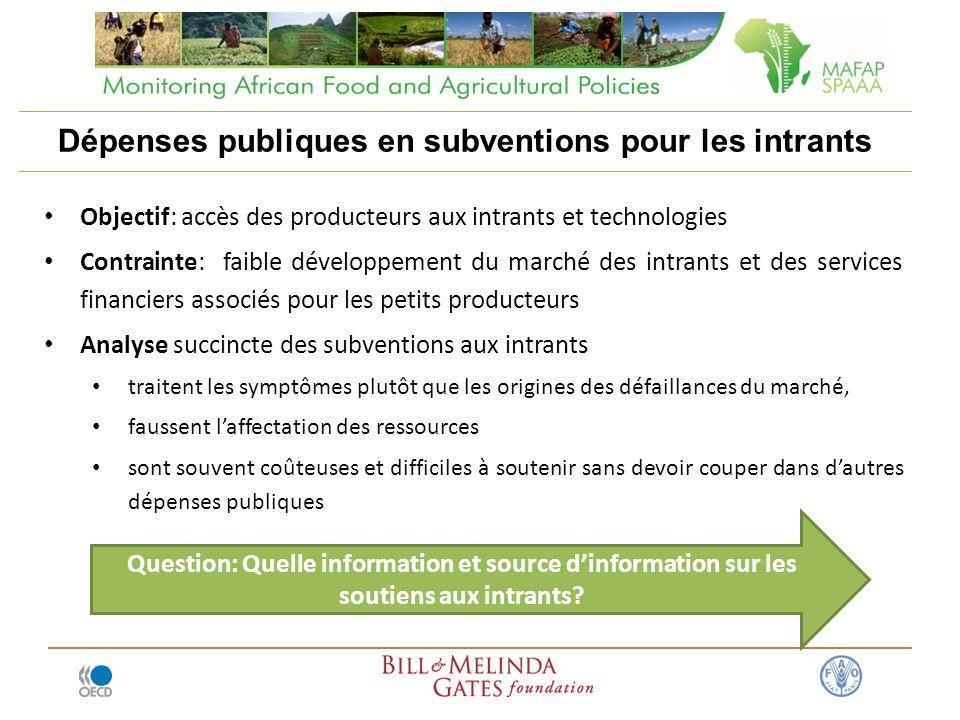 Dépenses publiques en subventions pour les intrants Objectif: accès des producteurs aux intrants et technologies Contrainte: faible développement du m