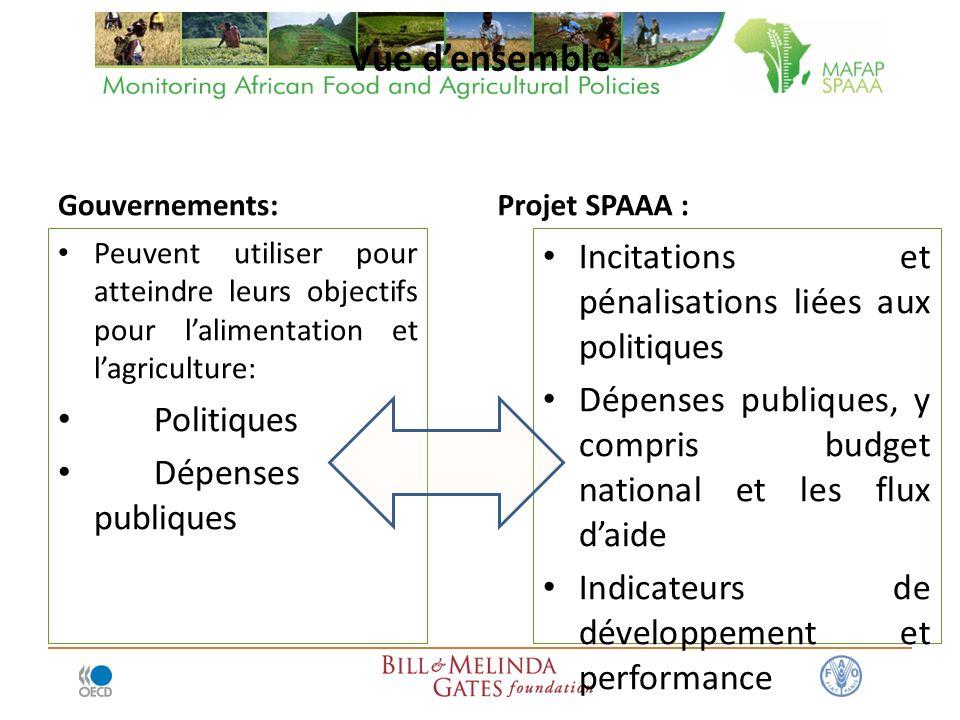 Vue densemble Gouvernements: Peuvent utiliser pour atteindre leurs objectifs pour lalimentation et lagriculture: Politiques Dépenses publiques Projet