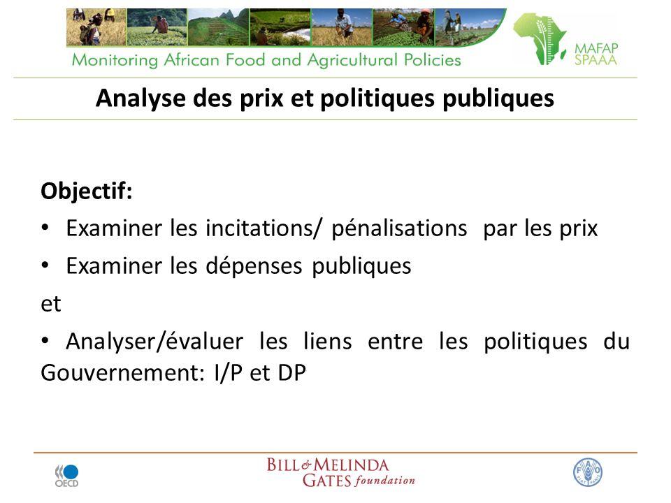 Analyse des prix et politiques publiques Objectif: Examiner les incitations/ pénalisations par les prix Examiner les dépenses publiques et Analyser/évaluer les liens entre les politiques du Gouvernement: I/P et DP
