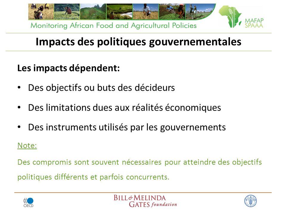 Les impacts dépendent: Des objectifs ou buts des décideurs Des limitations dues aux réalités économiques Des instruments utilisés par les gouvernement
