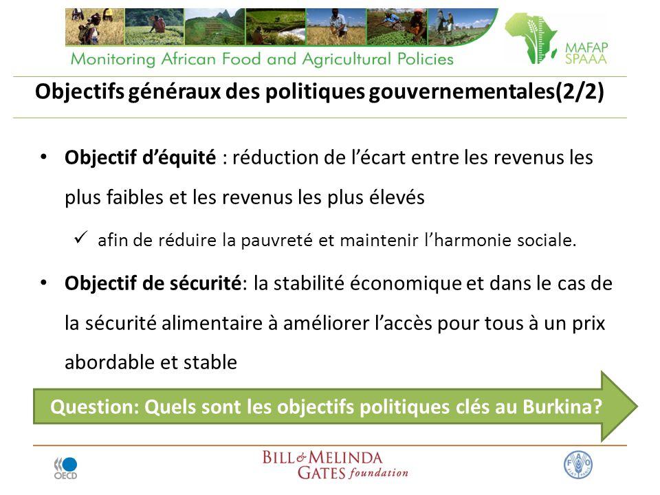 Objectifs généraux des politiques gouvernementales(2/2) Objectif déquité : réduction de lécart entre les revenus les plus faibles et les revenus les plus élevés afin de réduire la pauvreté et maintenir lharmonie sociale.