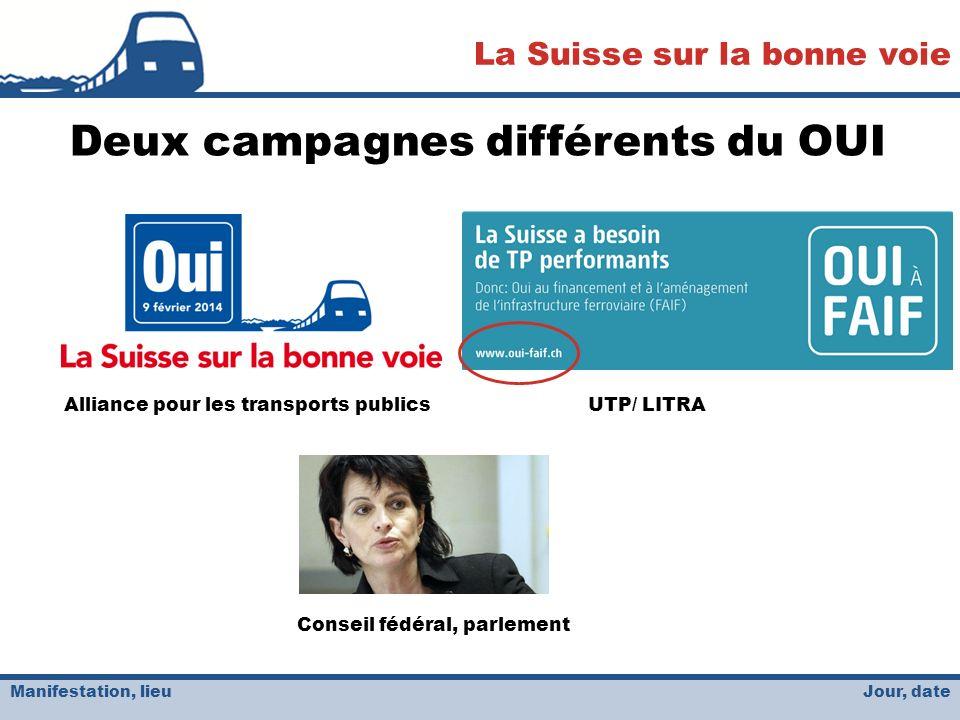 Jour, date La Suisse sur la bonne voie Manifestation, lieu Deux campagnes différents du OUI Alliance pour les transports publicsUTP/ LITRA Conseil fédéral, parlement