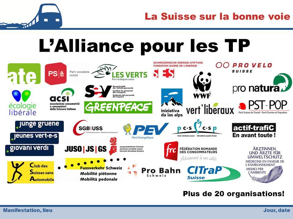 Jour, date La Suisse sur la bonne voie Manifestation, lieu LAlliance pour les TP Plus de 20 organisations!