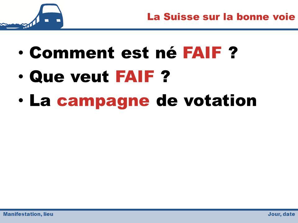 Jour, date La Suisse sur la bonne voie Manifestation, lieu Comment est né FAIF .