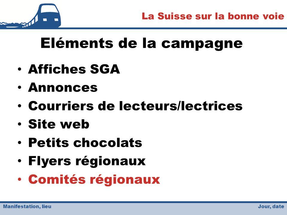 Jour, date La Suisse sur la bonne voie Manifestation, lieu Eléments de la campagne Affiches SGA Annonces Courriers de lecteurs/lectrices Site web Petits chocolats Flyers régionaux Comités régionaux