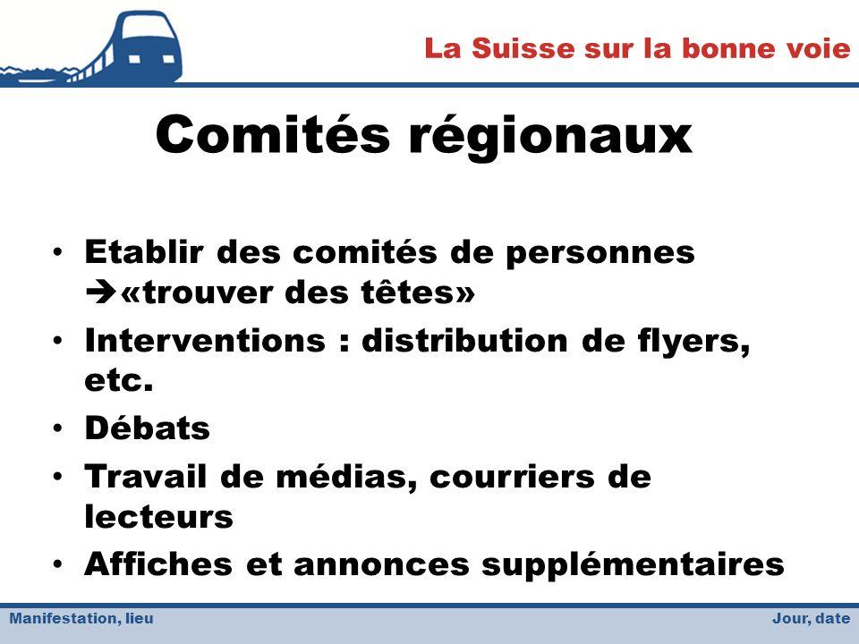 Jour, date La Suisse sur la bonne voie Manifestation, lieu Comités régionaux Etablir des comités de personnes «trouver des têtes» Interventions : distribution de flyers, etc.