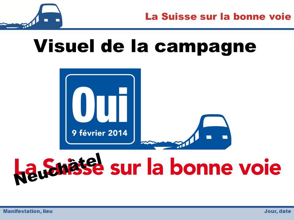 Jour, date La Suisse sur la bonne voie Manifestation, lieu Neuchâtel Visuel de la campagne