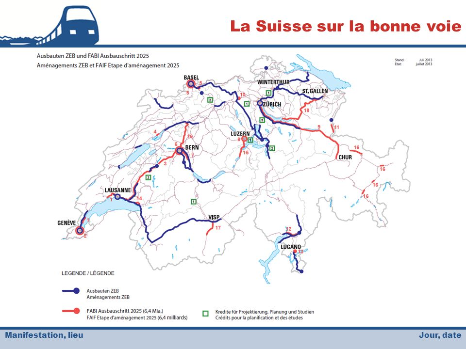 Jour, date La Suisse sur la bonne voie Manifestation, lieu