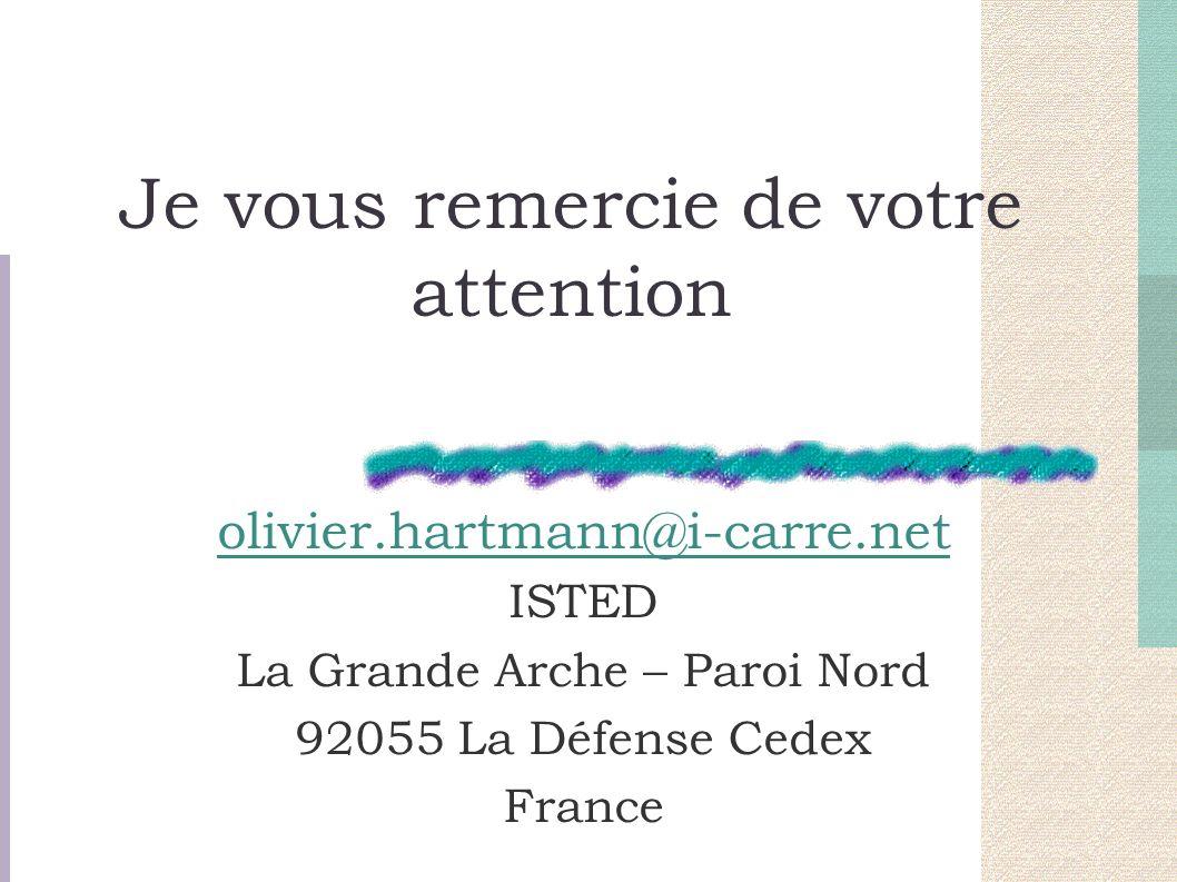 Je vous remercie de votre attention olivier.hartmann@i-carre.net ISTED La Grande Arche – Paroi Nord 92055 La Défense Cedex France