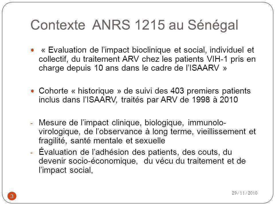 Contexte ANRS 1215 au Sénégal « Evaluation de limpact bioclinique et social, individuel et collectif, du traitement ARV chez les patients VIH-1 pris en charge depuis 10 ans dans le cadre de lISAARV » Cohorte « historique » de suivi des 403 premiers patients inclus dans lISAARV, traités par ARV de 1998 à 2010 - Mesure de limpact clinique, biologique, immunolo- virologique, de lobservance à long terme, vieillissement et fragilité, santé mentale et sexuelle - Évaluation de ladhésion des patients, des couts, du devenir socio-économique, du vécu du traitement et de limpact social, 3 29/11/2010