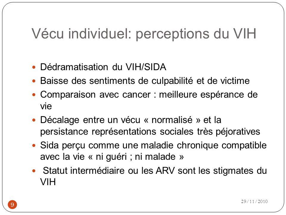 Vécu individuel: perceptions du VIH Dédramatisation du VIH/SIDA Baisse des sentiments de culpabilité et de victime Comparaison avec cancer : meilleure espérance de vie Décalage entre un vécu « normalisé » et la persistance représentations sociales très péjoratives Sida perçu comme une maladie chronique compatible avec la vie « ni guéri ; ni malade » Statut intermédiaire ou les ARV sont les stigmates du VIH 9 29/11/2010