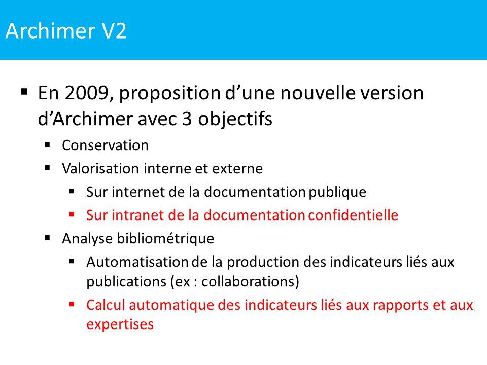Archimer V2 En 2009, proposition dune nouvelle version dArchimer avec 3 objectifs Conservation Valorisation interne et externe Sur internet de la docu