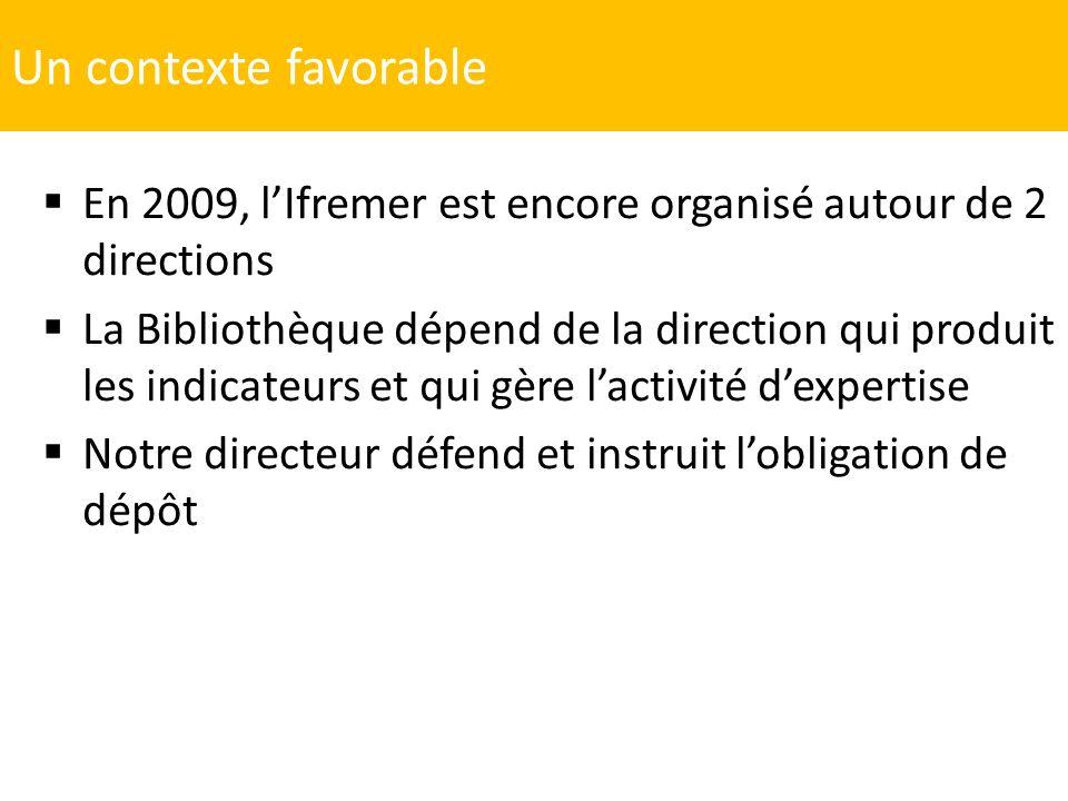 Un contexte favorable En 2009, lIfremer est encore organisé autour de 2 directions La Bibliothèque dépend de la direction qui produit les indicateurs