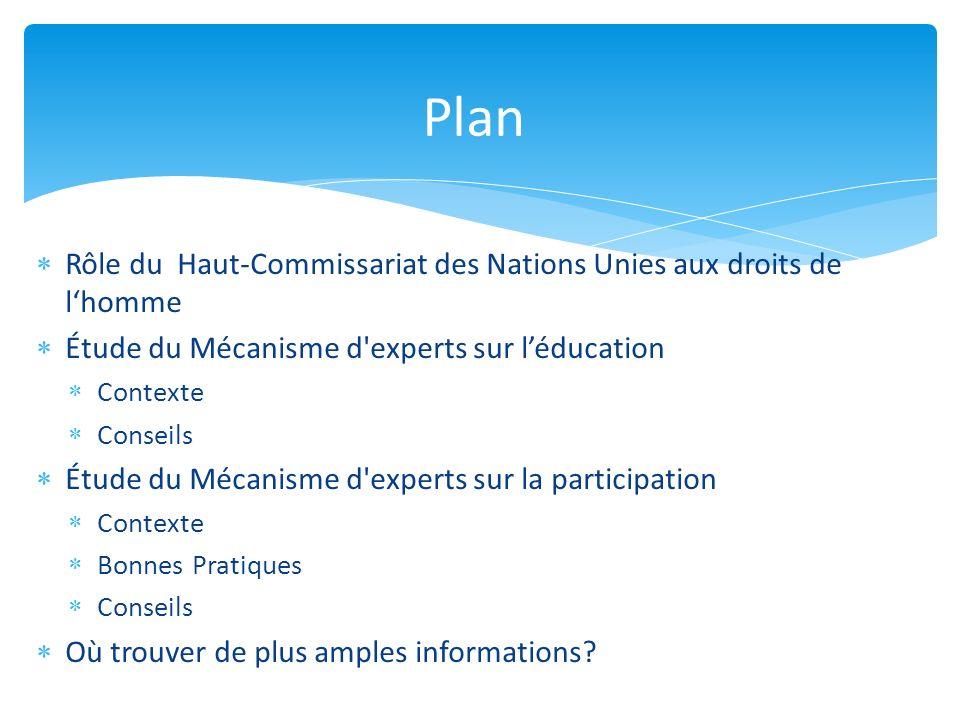 Rôle du Haut-Commissariat des Nations Unies aux droits de lhomme Étude du Mécanisme d'experts sur léducation Contexte Conseils Étude du Mécanisme d'ex