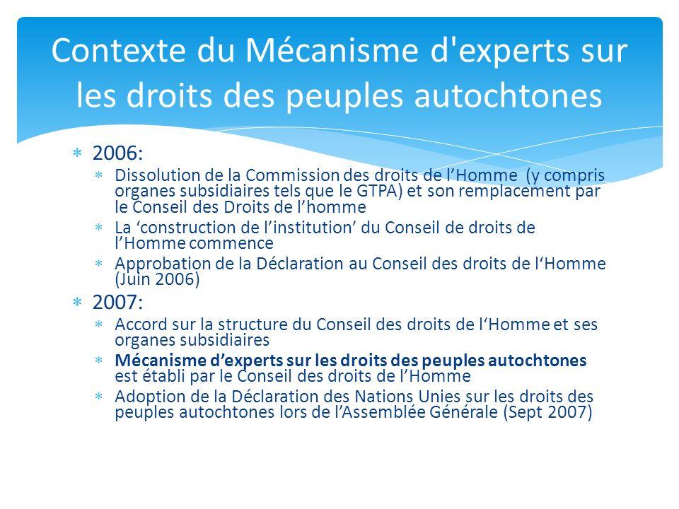 2006: Dissolution de la Commission des droits de lHomme (y compris organes subsidiaires tels que le GTPA) et son remplacement par le Conseil des Droit