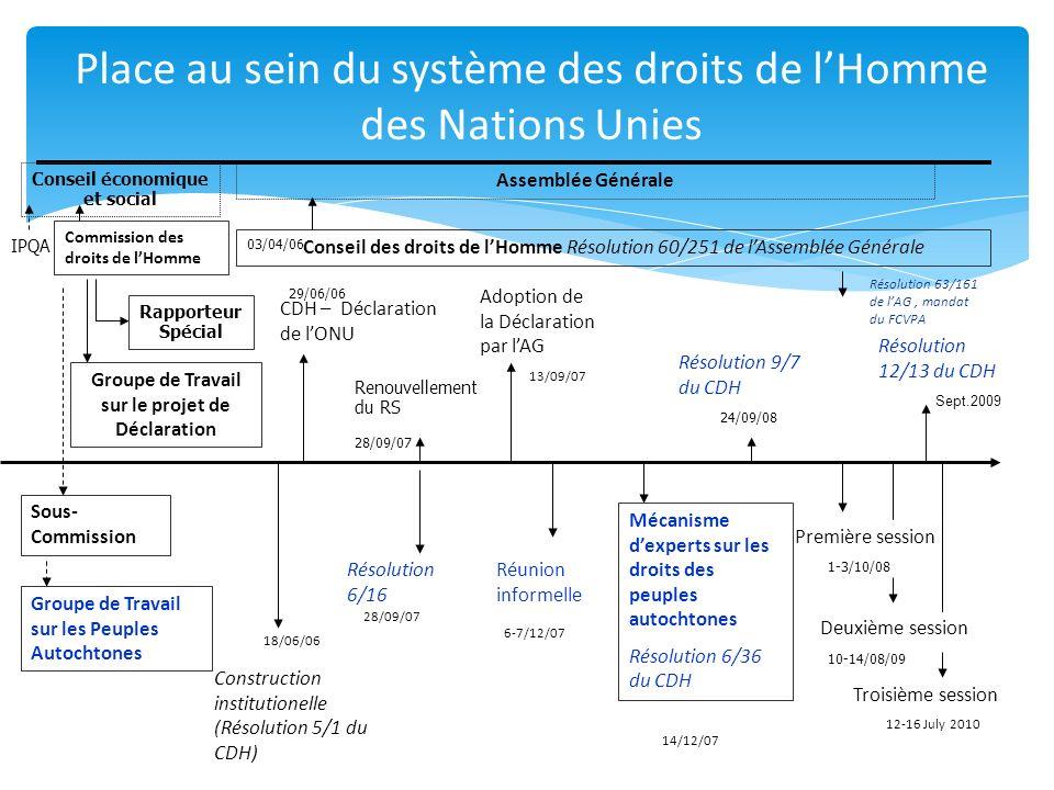 Commission des droits de lHomme Sous- Commission Groupe de Travail sur les Peuples Autochtones Groupe de Travail sur le projet de Déclaration Conseil des droits de lHomme Résolution 60/251 de lAssemblée Générale 03/04/06 Construction institutionelle (Résolution 5/1 du CDH) 18/06/06 CDH – Déclaration de lONU 29/06/06 Renouvellement du RS Résolution 6/16 28/09/07 Assemblée Générale Réunion informelle Mécanisme dexperts sur les droits des peuples autochtones Résolution 6/36 du CDH Résolution 9/7 du CDH Première session 1-3/10/08 24/09/08 14/12/07 6-7/12/07 13/09/07 28/09/07 Deuxième session 10-14/08/09 Résolution 12/13 du CDH Sept.2009 Troisième session 12-16 July 2010 Adoption de la Déclaration par lAG Conseil économique et social Rapporteur Spécial Résolution 63/161 de lAG, mandat du FCVPA IPQA Place au sein du système des droits de lHomme des Nations Unies