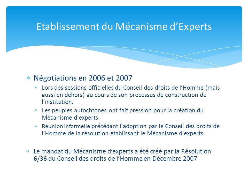 Négotiations en 2006 et 2007 Lors des sessions officielles du Conseil des droits de lHomme (mais aussi en dehors) au cours de son processus de construction de linstitution.