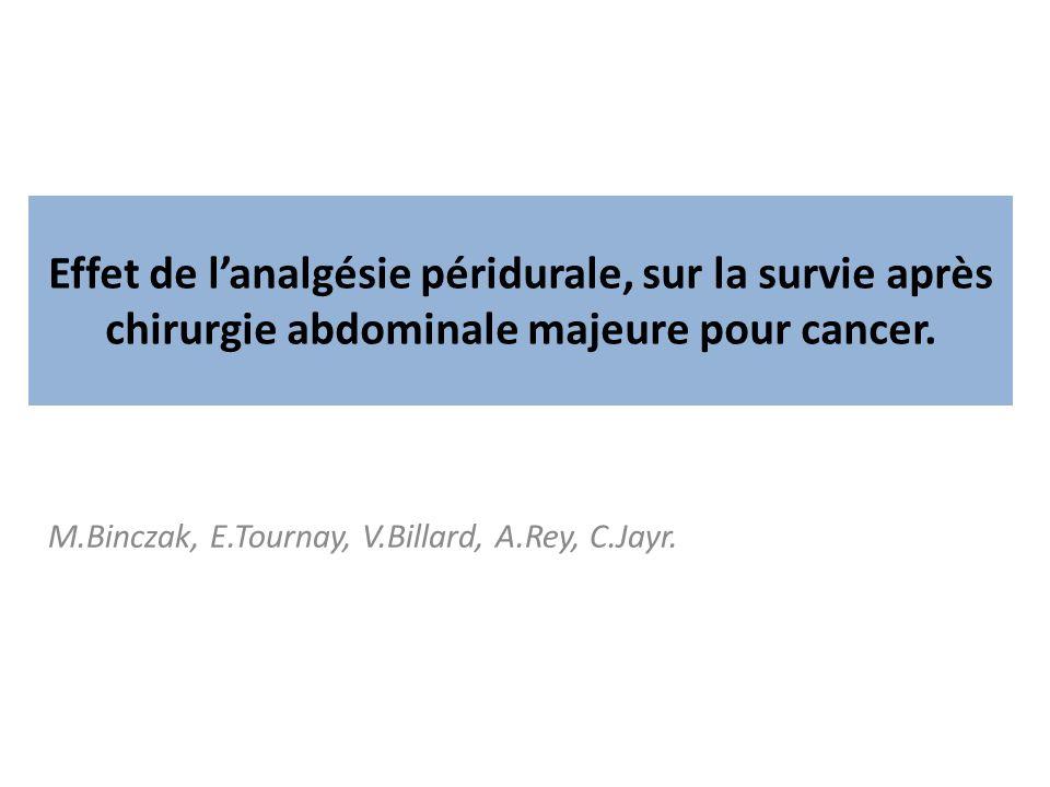 M.Binczak, E.Tournay, V.Billard, A.Rey, C.Jayr. Effet de lanalgésie péridurale, sur la survie après chirurgie abdominale majeure pour cancer.