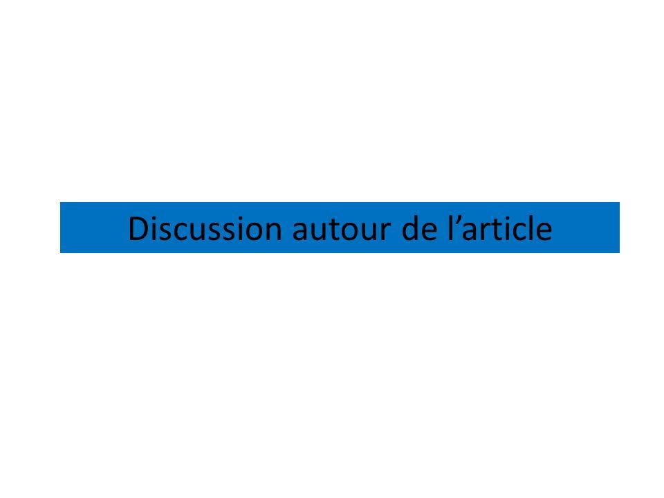 Discussion autour de larticle