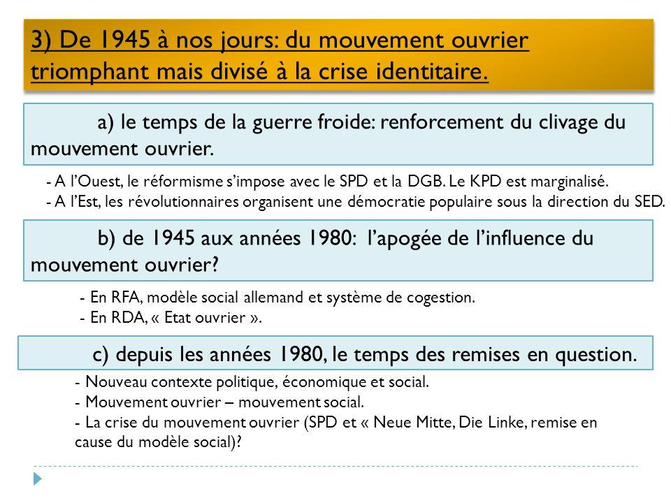 3) De 1945 à nos jours: du mouvement ouvrier triomphant mais divisé à la crise identitaire.