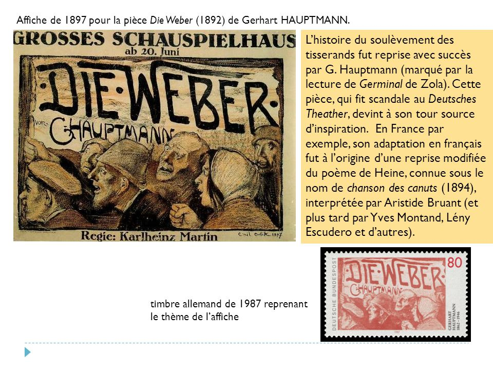 Affiche de 1897 pour la pièce Die Weber (1892) de Gerhart HAUPTMANN.