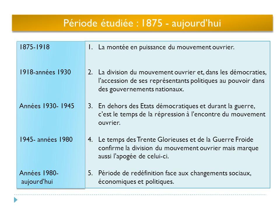 Période étudiée : 1875 - aujourdhui 1.La montée en puissance du mouvement ouvrier.