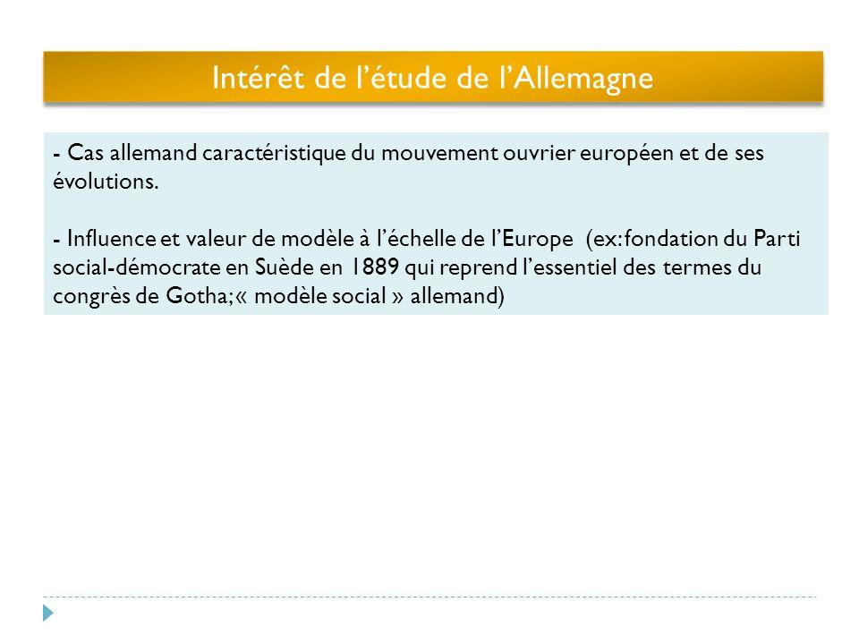 Intérêt de létude de lAllemagne - Cas allemand caractéristique du mouvement ouvrier européen et de ses évolutions.