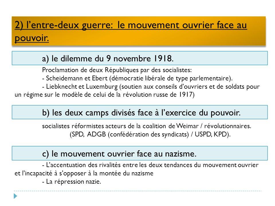 2) lentre-deux guerre: le mouvement ouvrier face au pouvoir.