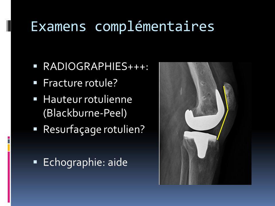 Examens complémentaires RADIOGRAPHIES+++: Fracture rotule? Hauteur rotulienne (Blackburne-Peel) Resurfaçage rotulien? Echographie: aide