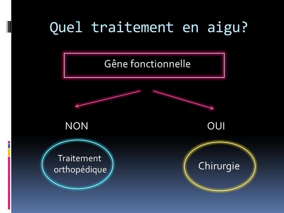 Quel traitement en aigu? Gêne fonctionnelle NONOUI Traitement orthopédique Chirurgie