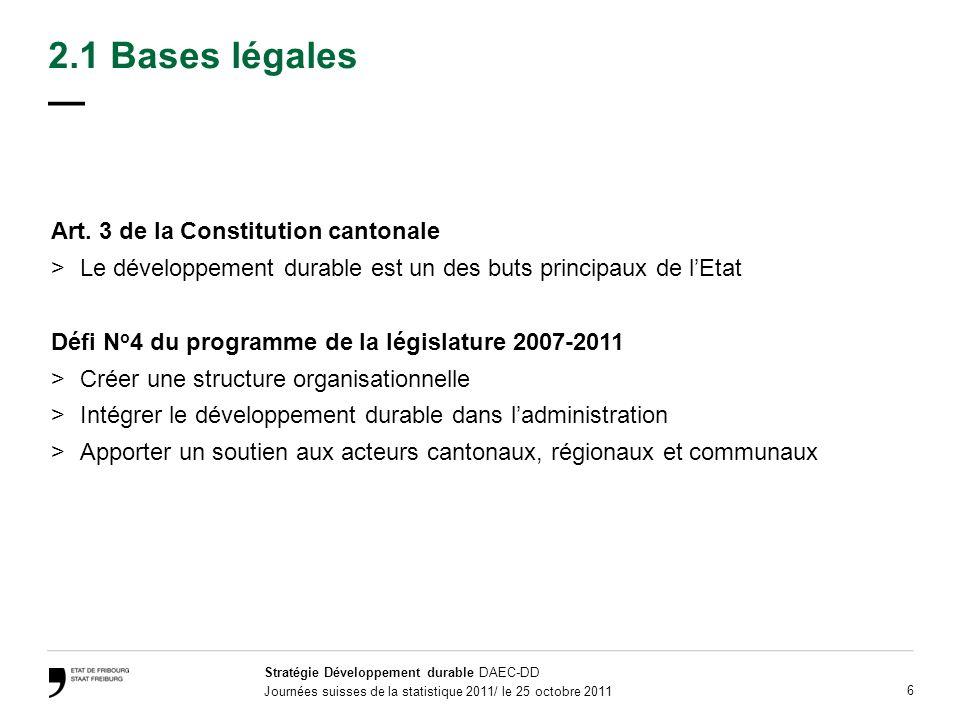 Stratégie Développement durable DAEC-DD Journées suisses de la statistique 2011/ le 25 octobre 2011 27 Sommaire 1.Définition 2.Bases légales et démarche 3.Etat des lieux 4.Objectifs 5.Actions 6.Outils du développement durable 6.1 Evaluation de la durabilité 6.2 Monitoring du développement durable 6.3 Rapport annuel 7.Coûts et financement