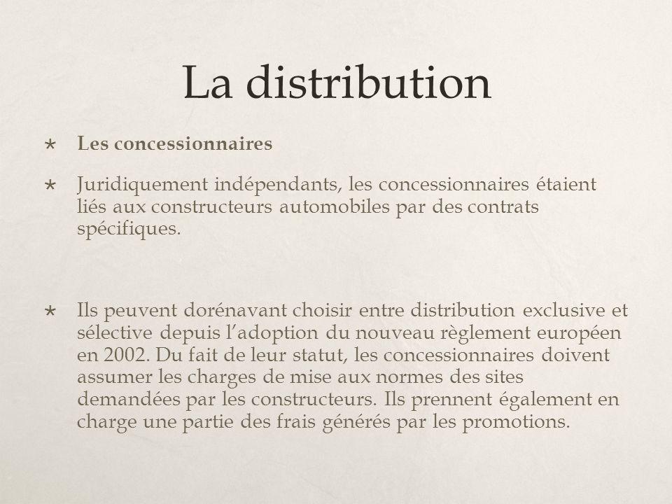 La distribution Les concessionnaires Juridiquement indépendants, les concessionnaires étaient liés aux constructeurs automobiles par des contrats spéc