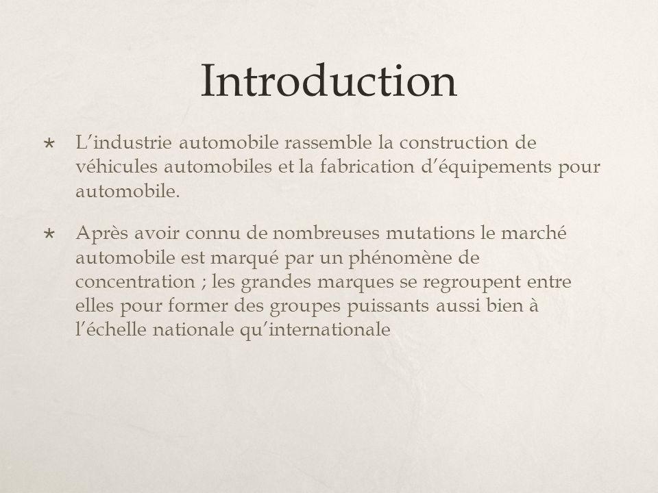 Introduction Lindustrie automobile rassemble la construction de véhicules automobiles et la fabrication déquipements pour automobile. Après avoir conn