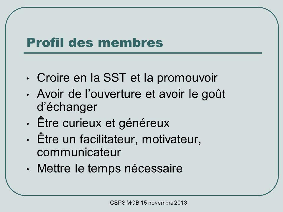 CSPS MOB 15 novembre 2013 Profil des membres Croire en la SST et la promouvoir Avoir de louverture et avoir le goût déchanger Être curieux et généreux Être un facilitateur, motivateur, communicateur Mettre le temps nécessaire