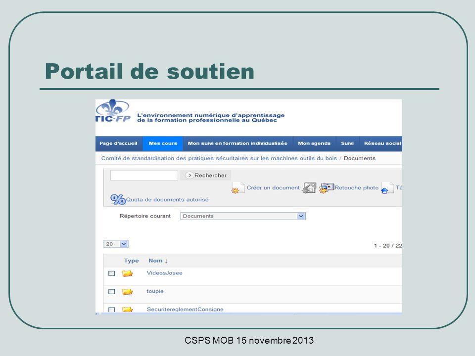 CSPS MOB 15 novembre 2013 Portail de soutien