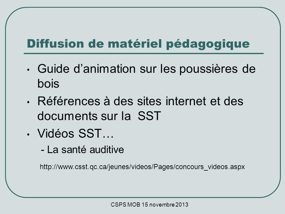 CSPS MOB 15 novembre 2013 Diffusion de matériel pédagogique Guide danimation sur les poussières de bois Références à des sites internet et des documents sur la SST Vidéos SST… - La santé auditive http://www.csst.qc.ca/jeunes/videos/Pages/concours_videos.aspx