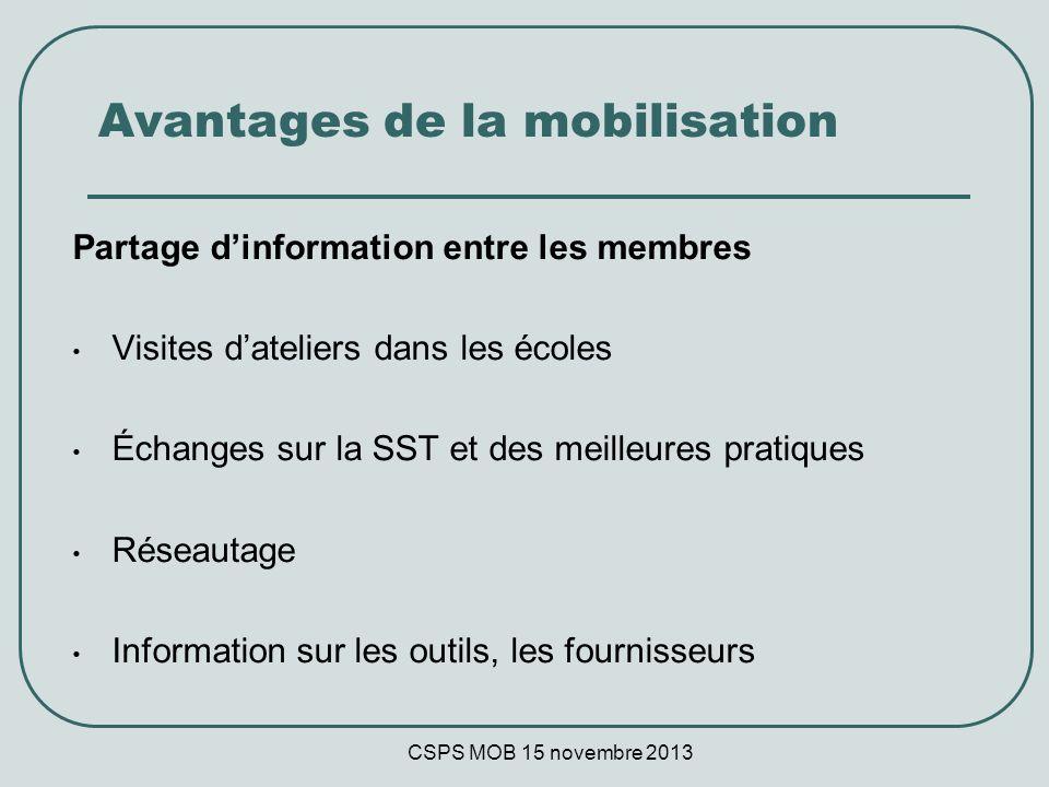 CSPS MOB 15 novembre 2013 Avantages de la mobilisation Partage dinformation entre les membres Visites dateliers dans les écoles Échanges sur la SST et des meilleures pratiques Réseautage Information sur les outils, les fournisseurs