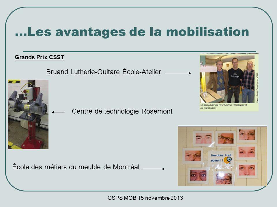 CSPS MOB 15 novembre 2013 …Les avantages de la mobilisation Grands Prix CSST Bruand Lutherie-Guitare École-Atelier École des métiers du meuble de Montréal Centre de technologie Rosemont