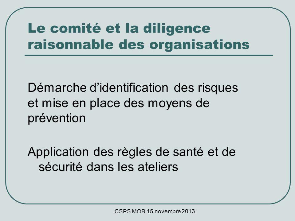 CSPS MOB 15 novembre 2013 Le comité et la diligence raisonnable des organisations Démarche didentification des risques et mise en place des moyens de prévention Application des règles de santé et de sécurité dans les ateliers
