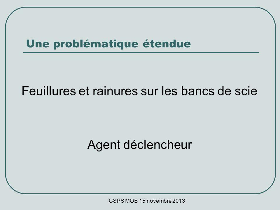 CSPS MOB 15 novembre 2013 Une problématique étendue Feuillures et rainures sur les bancs de scie Agent déclencheur