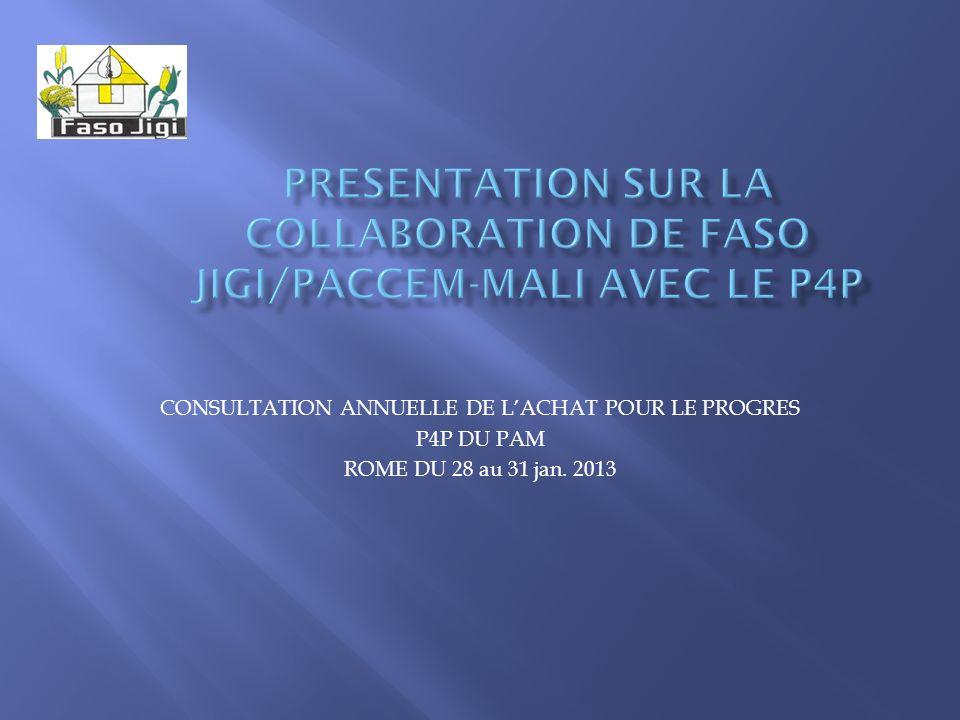 CONSULTATION ANNUELLE DE LACHAT POUR LE PROGRES P4P DU PAM ROME DU 28 au 31 jan. 2013