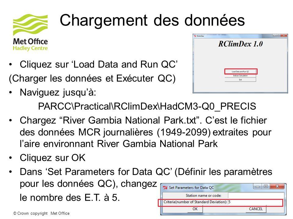 © Crown copyright Met Office Chargement des données Cliquez sur Load Data and Run QC (Charger les données et Exécuter QC) Naviguez jusquà: PARCC\Pract
