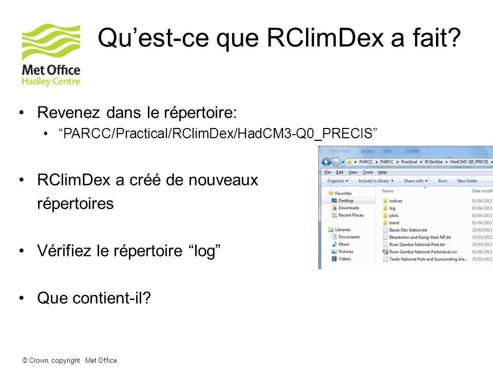 © Crown copyright Met Office Quest-ce que RClimDex a fait? Revenez dans le répertoire: PARCC/Practical/RClimDex/HadCM3-Q0_PRECIS RClimDex a créé de no