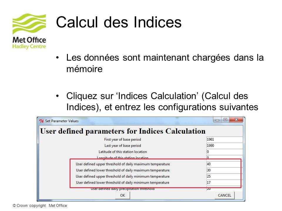 © Crown copyright Met Office Calcul des Indices Les données sont maintenant chargées dans la mémoire Cliquez sur Indices Calculation (Calcul des Indic