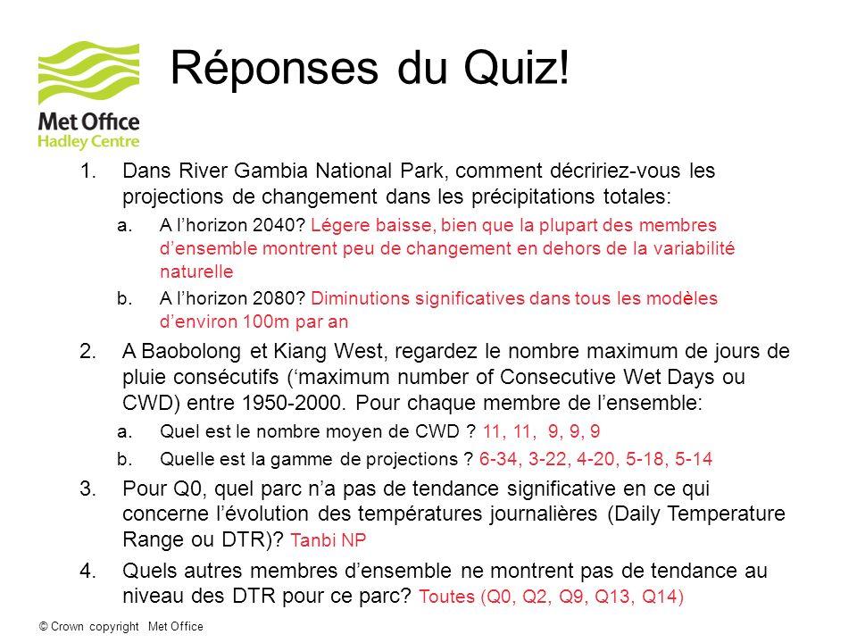 © Crown copyright Met Office Réponses du Quiz! 1.Dans River Gambia National Park, comment décririez-vous les projections de changement dans les précip
