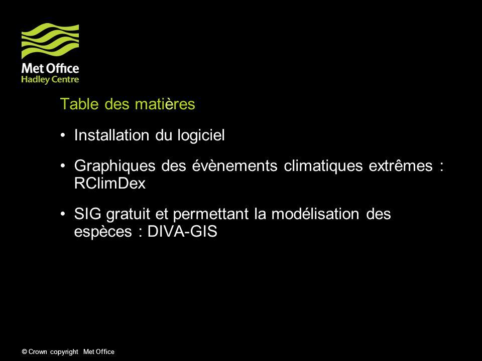 © Crown copyright Met Office Table des matières Installation du logiciel Graphiques des évènements climatiques extrêmes : RClimDex SIG gratuit et perm