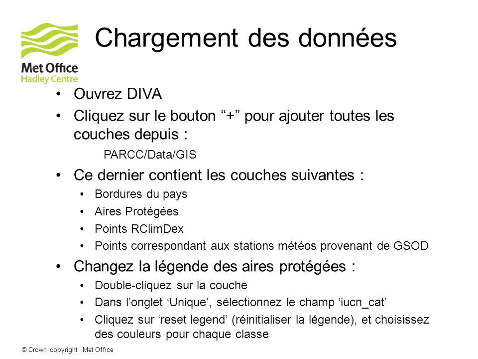 © Crown copyright Met Office Chargement des données Ouvrez DIVA Cliquez sur le bouton + pour ajouter toutes les couches depuis : PARCC/Data/GIS Ce der
