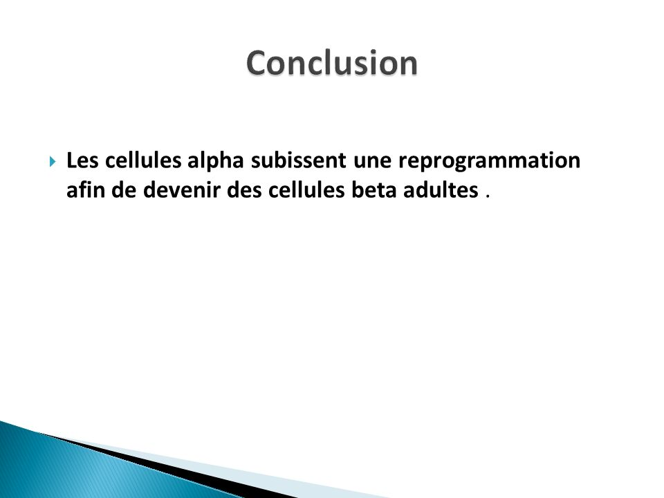 Les cellules alpha subissent une reprogrammation afin de devenir des cellules beta adultes.