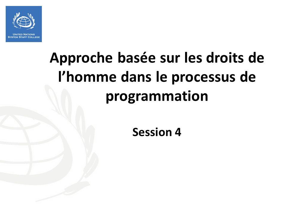 Approche basée sur les droits de lhomme dans le processus de programmation Session 4