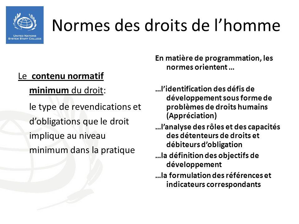 Normes des droits de lhomme Le contenu normatif minimum du droit: le type de revendications et dobligations que le droit implique au niveau minimum da